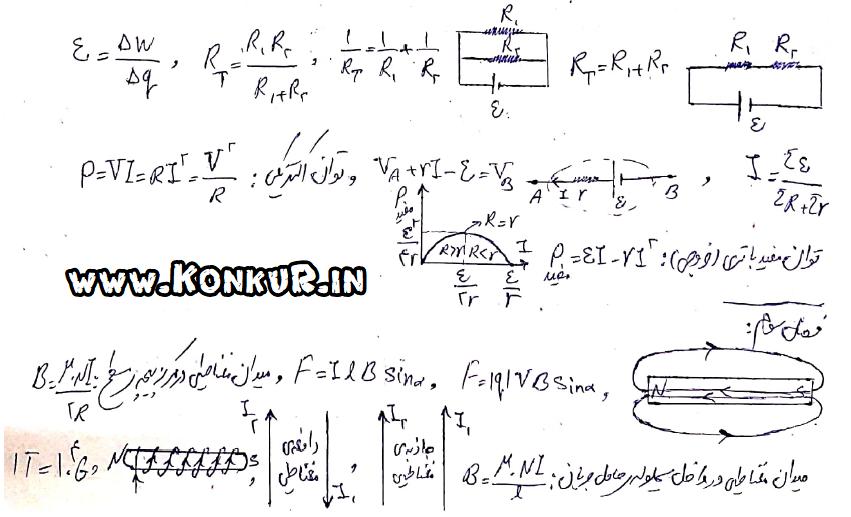 خلاصه مفاهیم و روابط فیزیک ۲،۱و۳